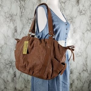 NWT Bueno Tan Faux Leather Large Slouchy Tote Bag